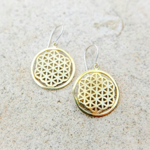 Gold Plated Brass Flower of Life Earrings