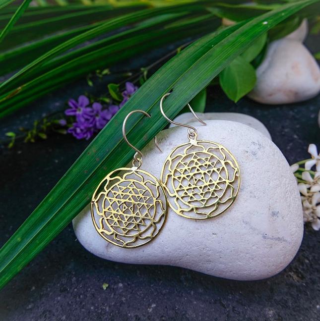 Gold Plated Brass Sri Yantra Earrings