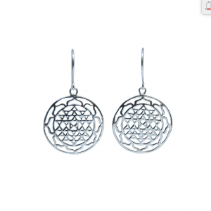 Sterling Silver Sri Yantra Earrings
