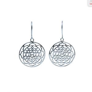 Sterling Silver Sri Yantra Earrings